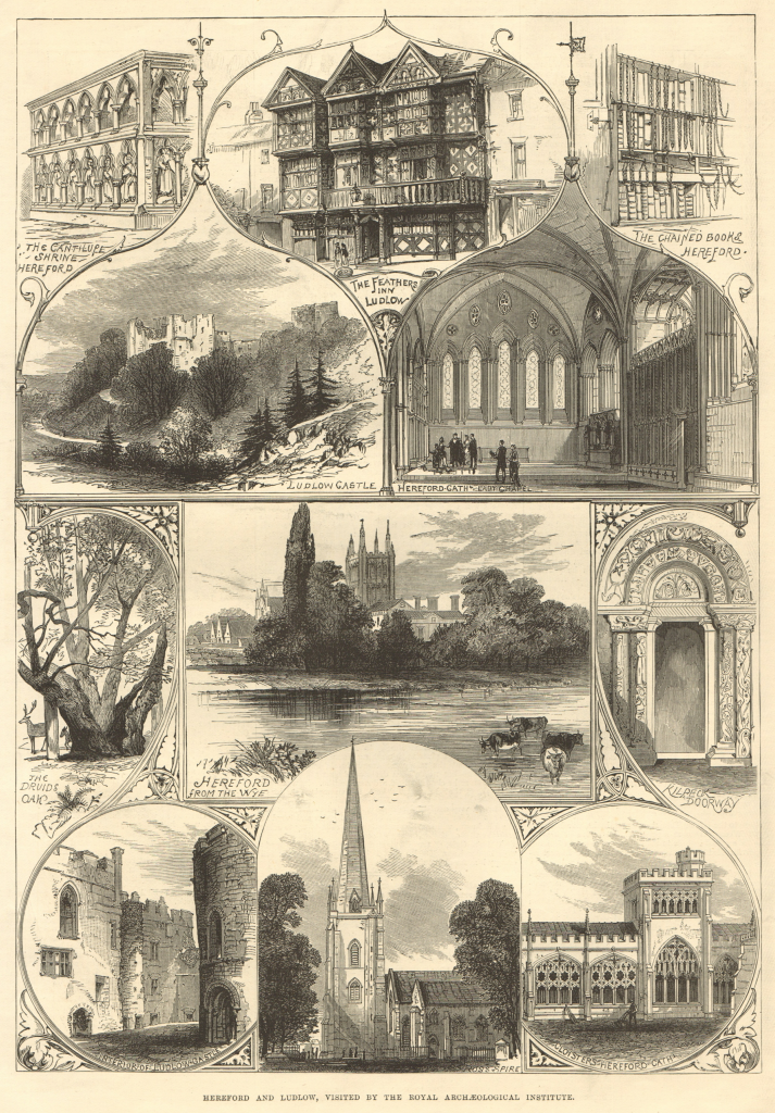 Hereford & Ludlow views: Cantilupe Shrine. Feathers Inn. Castle. Ross spire 1877