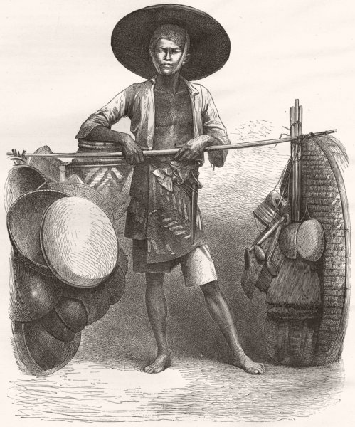 MARKETS. Borneo. Basket-seller 1880 old antique vintage print picture
