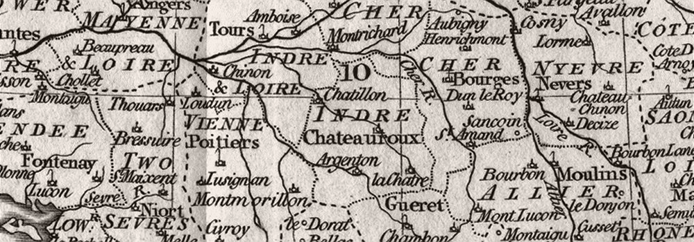 FRANCE : Circles & departments : Guthrie, 1801 map