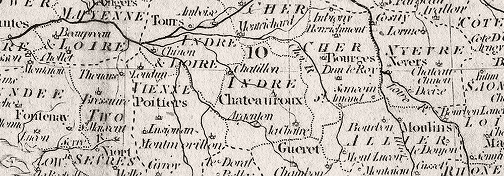 FRANCE : Circles & departments : Guthrie, 1801 map (g)