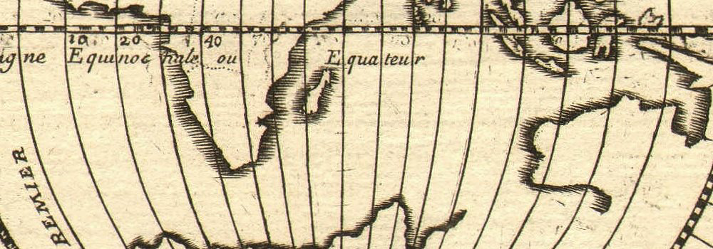 EASTERN HEMISPHERE. Circles of Longitude. Southern continent. MALLET 1683 map