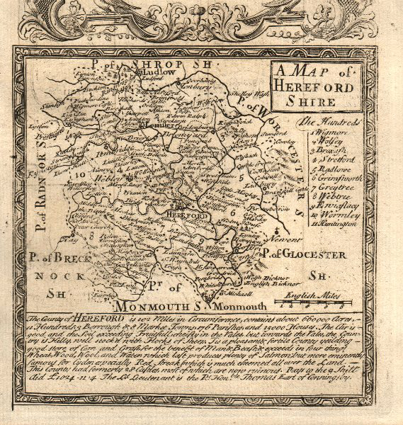 'A Map of Hereford-Shire'. County map by J. OWEN & E. BOWEN. Herefordshire 1753