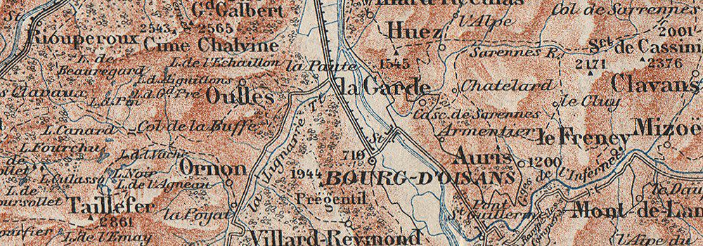 VALLÉES DE LA ROMANCHE & DU VÉNÉON.Grenoble-Lautaret.Alpe d'Huez.Isère;1923 map