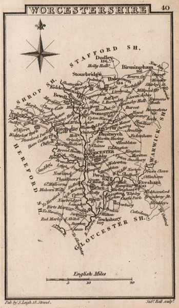 Worcestershire miniature county map by Samuel Leigh / Sidney Hall c1820