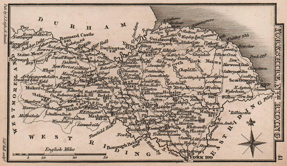 Yorkshire North Riding miniature county map by Samuel Leigh / Sidney Hall c1820