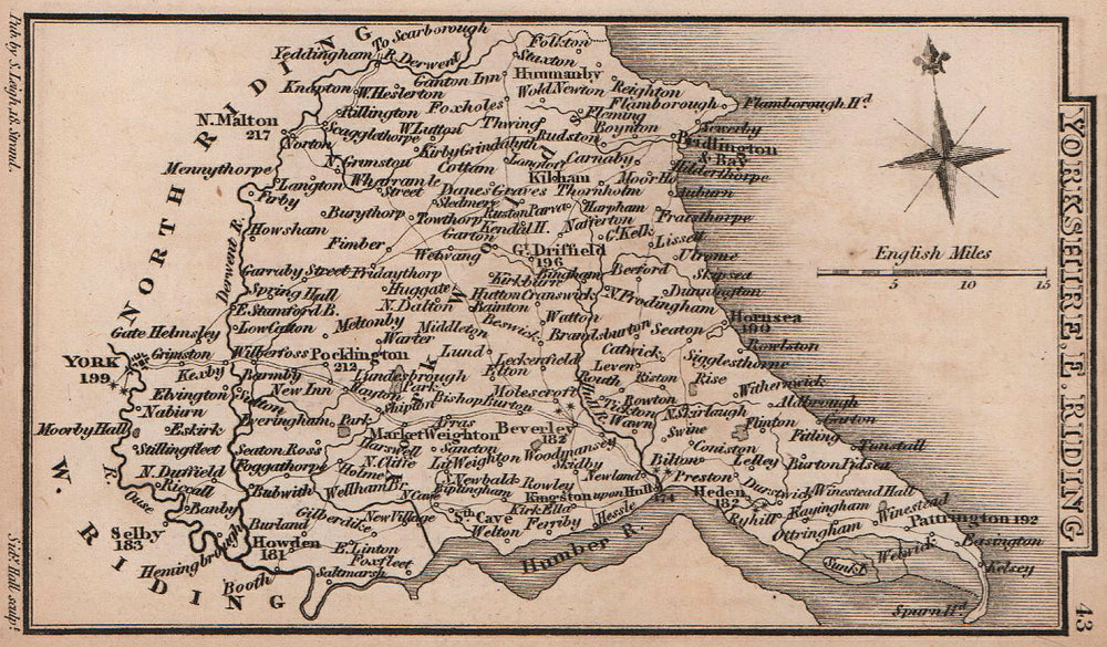 Yorkshire East Riding miniature county map by Samuel Leigh / Sidney Hall c1820