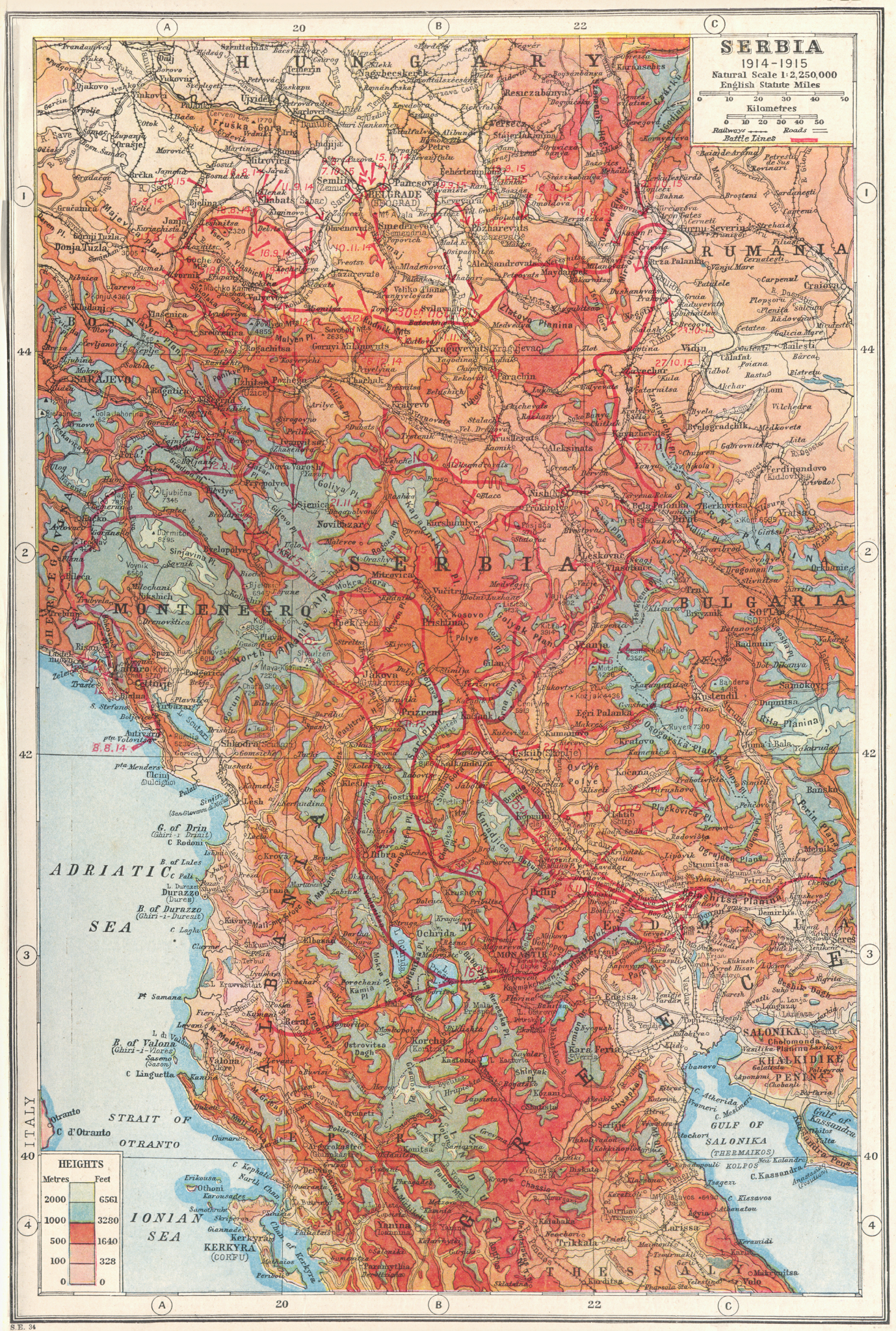 SERBIA. Macedonia Montenegro 1914-1915 battle lines. First World War  1920 map